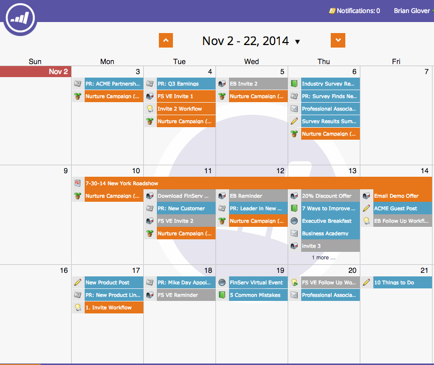 Marketo, Marketing Calendar